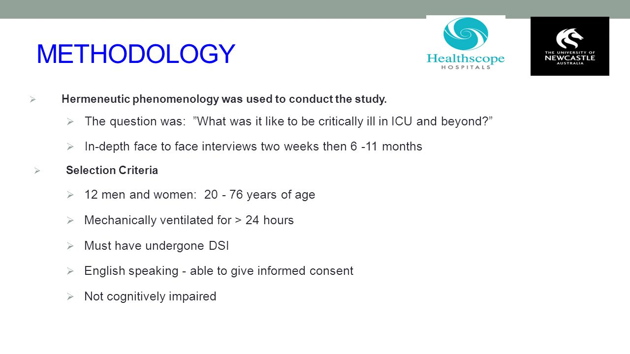 "METHODOLOGY  Hermeneutic phenomenology was used to conduct the study.  The question was: ""What was it like to be critically ill in ICU and beyond?"""