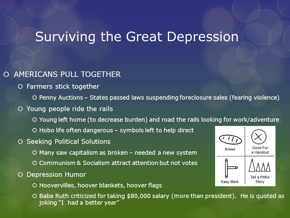 Surviving the Great Depression  AMERICANS PULL TOGETHER  Farmers stick together  Penny Auctions – States passed laws suspending foreclosure sales (fearing violence)  Young people ride the rails  Young left home (to decrease burden) and road the rails looking for work/adventure  Hobo life often dangerous – symbols left to help direct  Seeking Political Solutions  Many saw capitalism as broken – needed a new system  Communism & Socialism attract attention but not votes  Depression Humor  Hoovervilles, hoover blankets, hoover flags  Babe Ruth criticized for taking $80,000 salary (more than president).