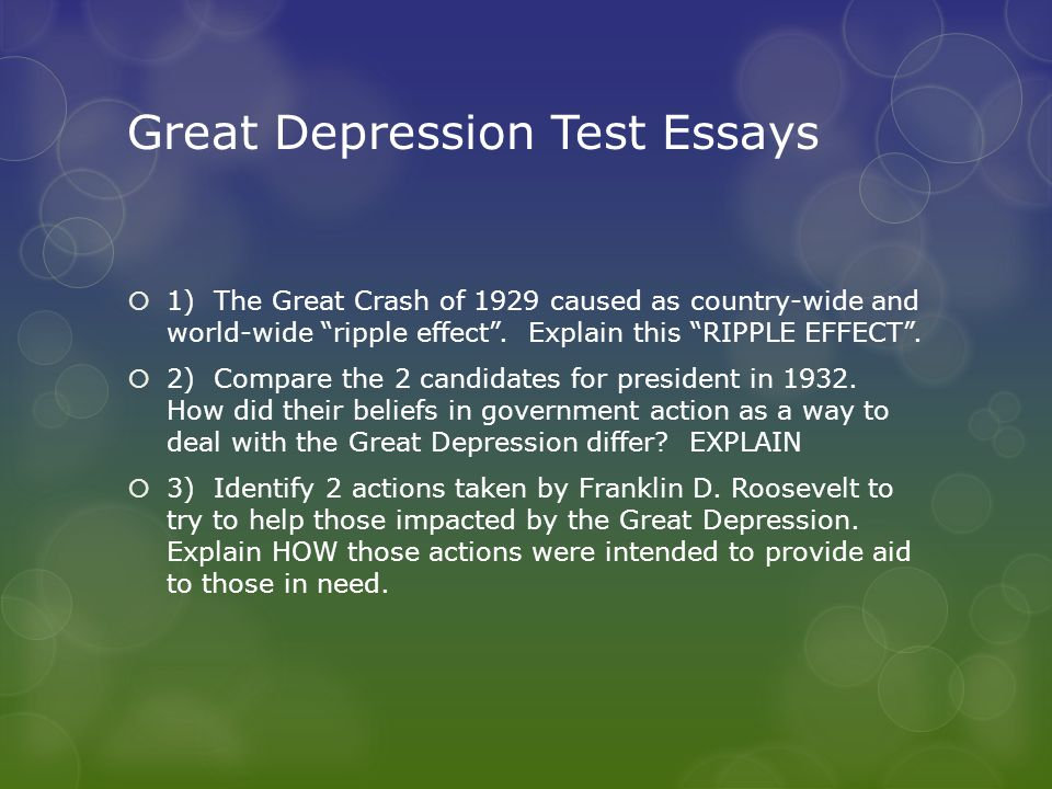 cause of great depression essay 5 causes of the great depression what caused the great depression, the worst economic depression in us history it was not just one factor, but.