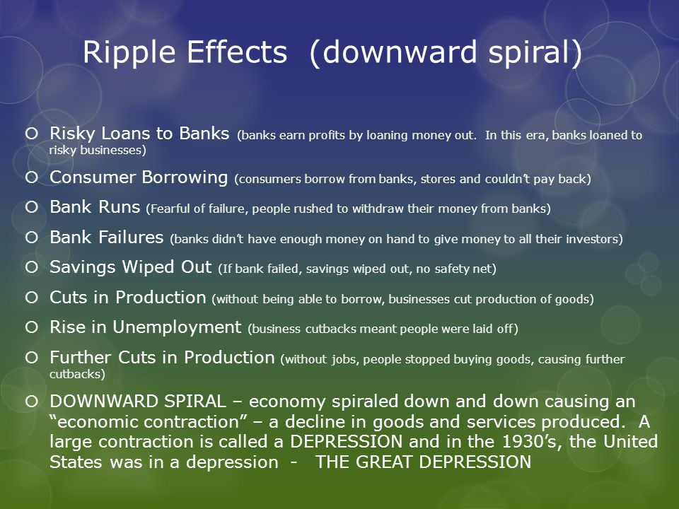 Ripple Effects (downward spiral)  Risky Loans to Banks (banks earn profits by loaning money out.