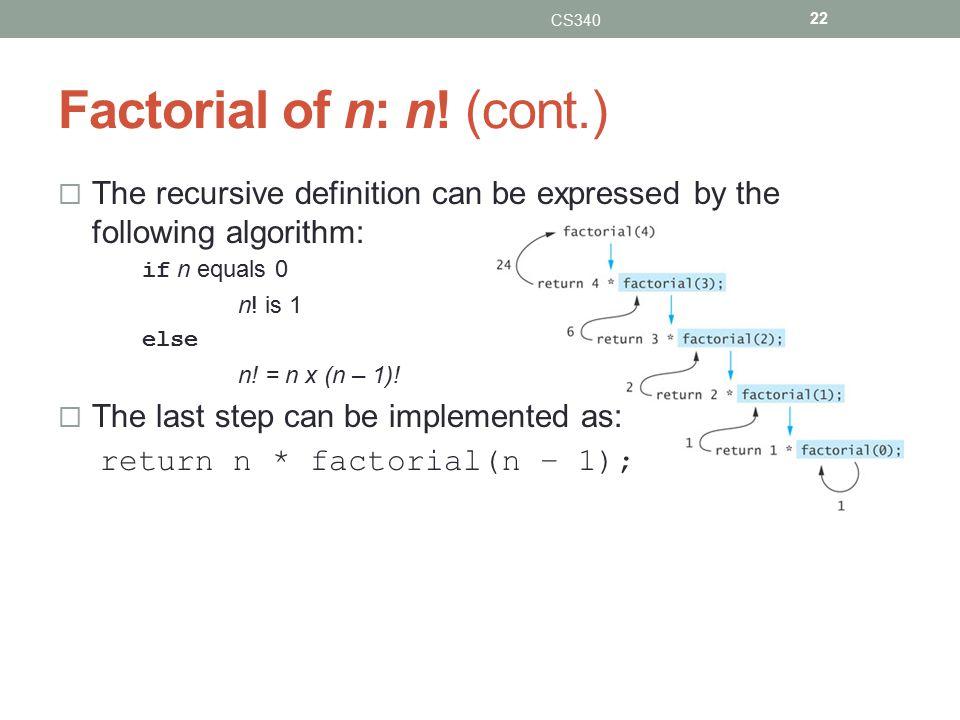 Factorial of n: n.