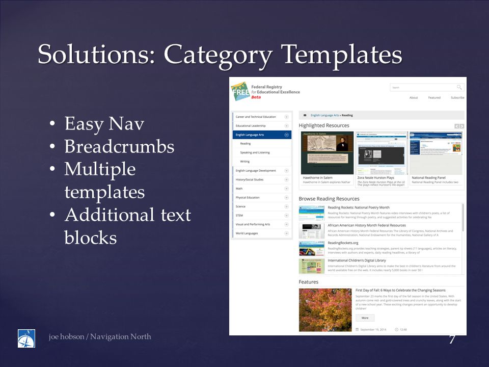 Solutions: Category Templates joe hobson / Navigation North 7 Easy Nav Breadcrumbs Multiple templates Additional text blocks