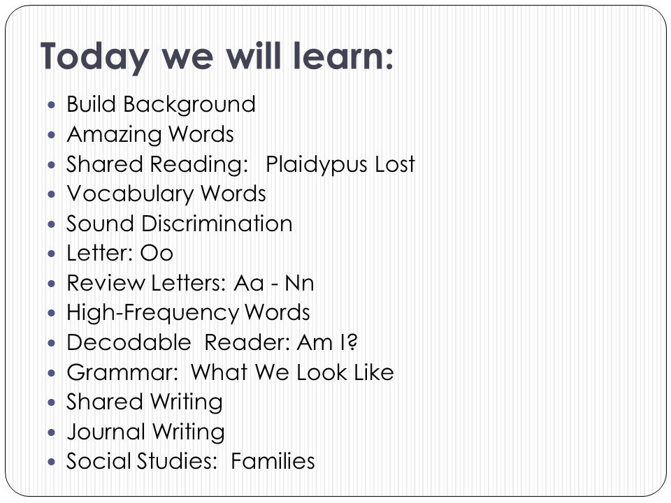 Today we will learn: Build Background Amazing Words Shared Reading: Plaidypus Lost Vocabulary Words Sound Discrimination Letter: Oo Review Letters: Aa