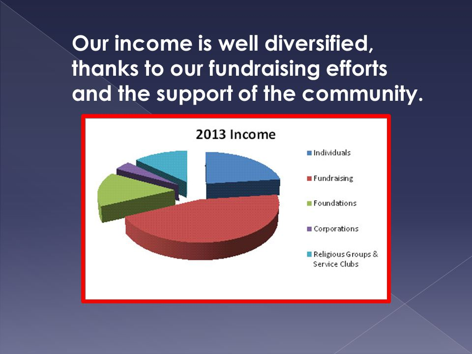 Our income is well diversified, thanks to our fundraising efforts and the support of the community.