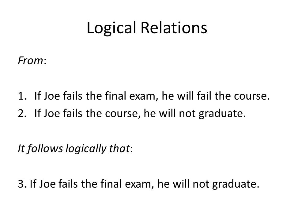 Logical Relations From: 1.If Joe fails the final exam, he will fail the course. 2.If Joe fails the course, he will not graduate. It follows logically
