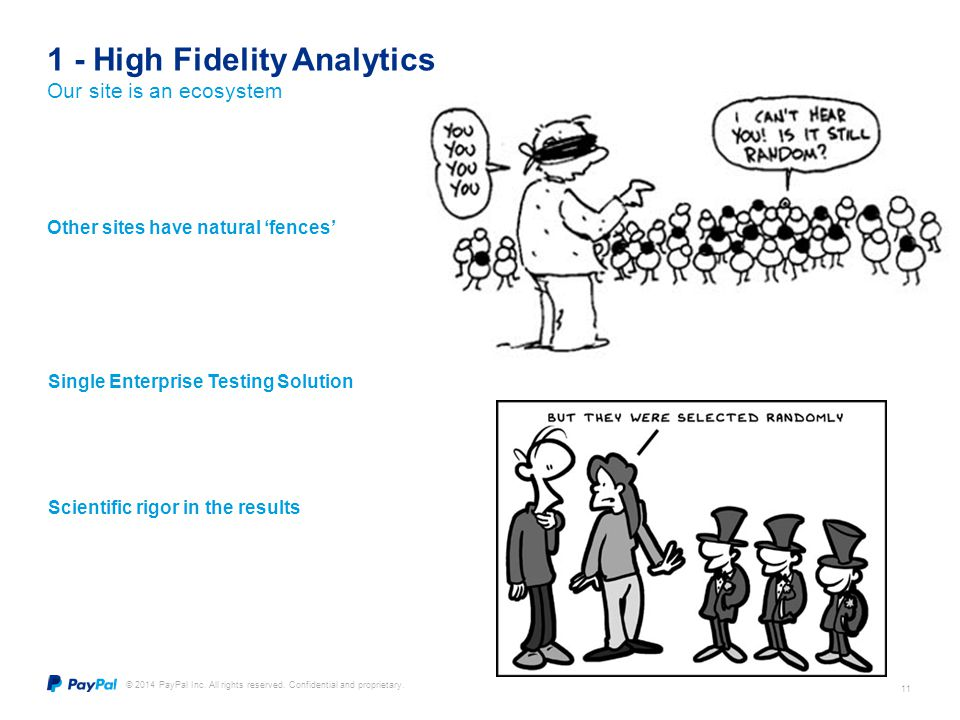 © 2014 PayPal Inc. All rights reserved. Confidential and proprietary. 11 1 - High Fidelity Analytics Our site is an ecosystem Single Enterprise Testin