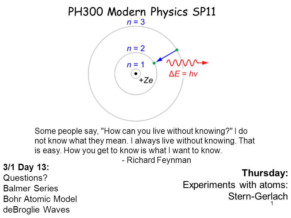 1 PH300 Modern Physics SP11 3/1 Day 13: Questions.