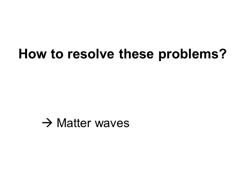 How to resolve these problems  Matter waves