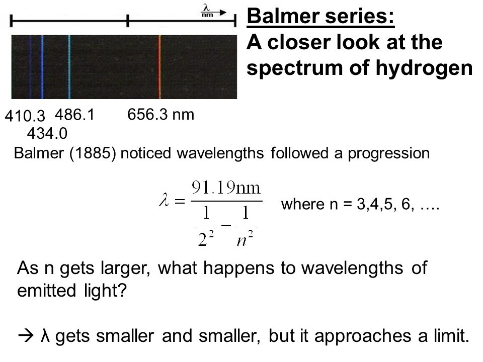 Balmer series: A closer look at the spectrum of hydrogen As n gets larger, what happens to wavelengths of emitted light.