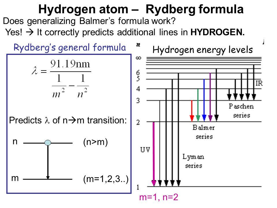 Hydrogen atom – Rydberg formula Does generalizing Balmer's formula work.