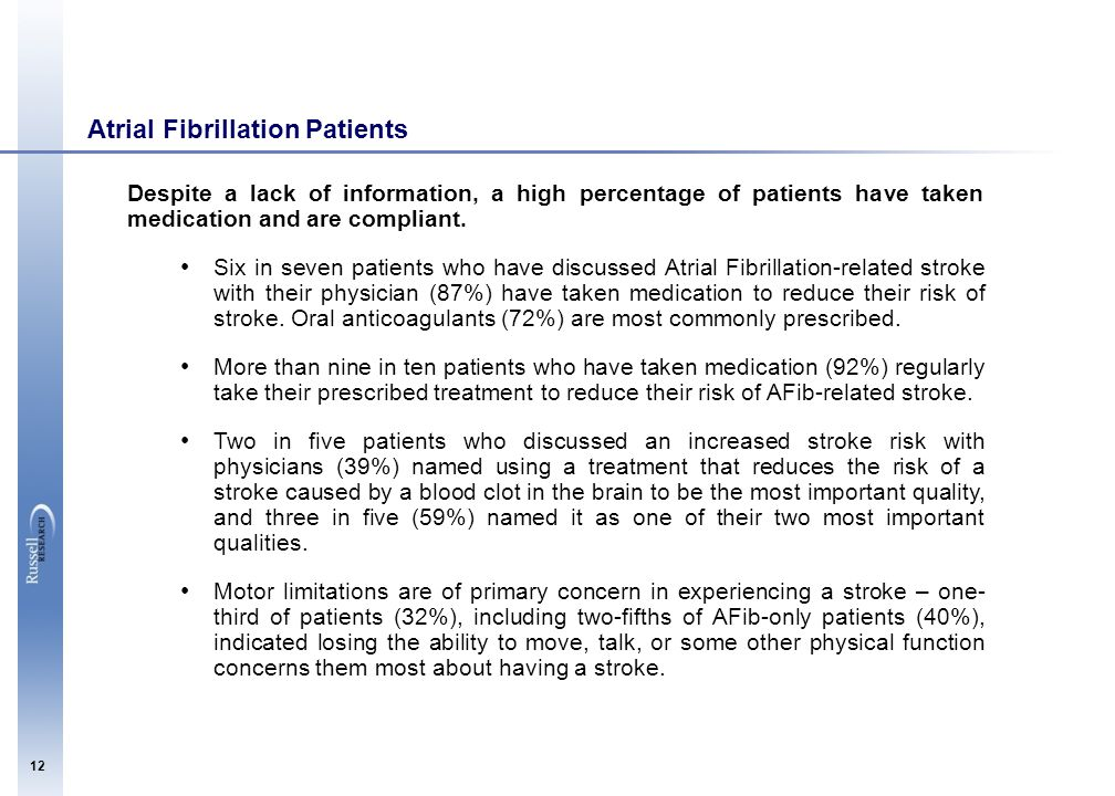 12 Atrial Fibrillation Patients Despite a lack of information, a high percentage of patients have taken medication and are compliant. Six in seven pat