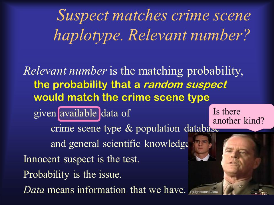 "Mathematical formulation of ""Evidential value of a match"" Where do we start? –B Weir: Likelihood Ratio –Simplest problem first LR= 1 / Pr(match crime"