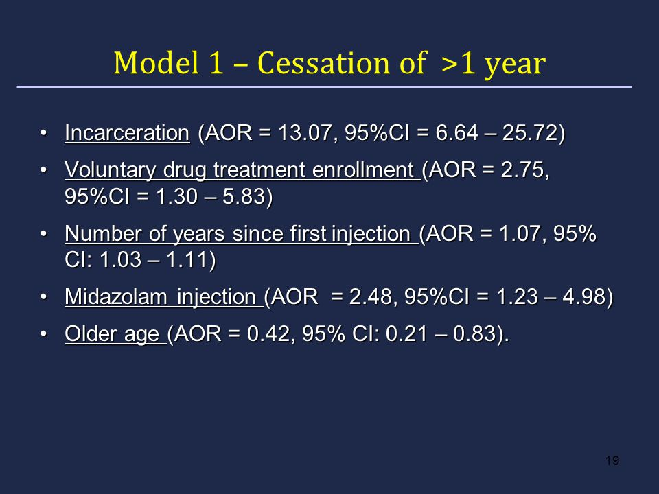Model 1 – Cessation of >1 year Incarceration (AOR = 13.07, 95%CI = 6.64 – 25.72)Incarceration (AOR = 13.07, 95%CI = 6.64 – 25.72) Voluntary drug treatment enrollment (AOR = 2.75, 95%CI = 1.30 – 5.83)Voluntary drug treatment enrollment (AOR = 2.75, 95%CI = 1.30 – 5.83) Number of years since first injection (AOR = 1.07, 95% CI: 1.03 – 1.11)Number of years since first injection (AOR = 1.07, 95% CI: 1.03 – 1.11) Midazolam injection (AOR = 2.48, 95%CI = 1.23 – 4.98)Midazolam injection (AOR = 2.48, 95%CI = 1.23 – 4.98) Older age (AOR = 0.42, 95% CI: 0.21 – 0.83).Older age (AOR = 0.42, 95% CI: 0.21 – 0.83).
