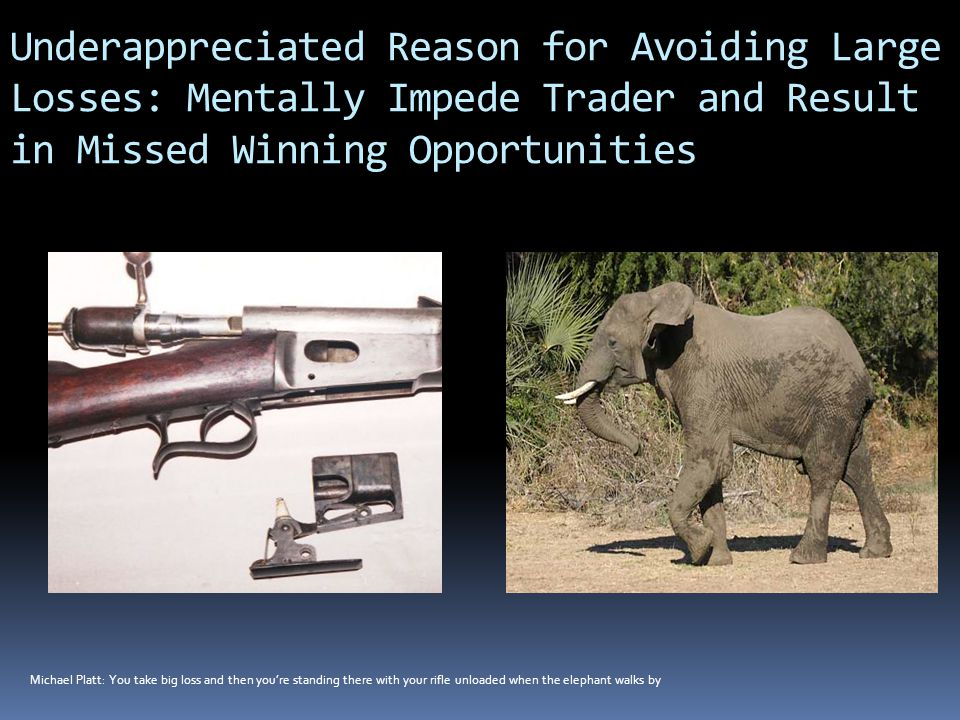 Underappreciated Reason for Avoiding Large Losses: Mentally Impede Trader and Result in Missed Winning Opportunities Michael Platt: You take big loss