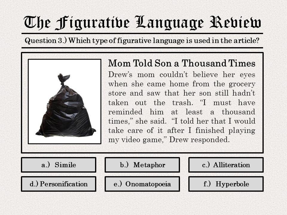 Limited Product Catalog: Figurative Language Products: The Figurative Language Review PowerPoint No.