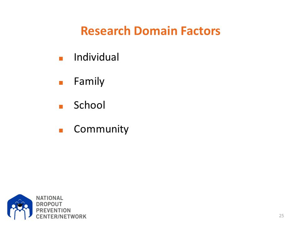 Research Domain Factors ■ Individual ■ Family ■ School ■ Community 25