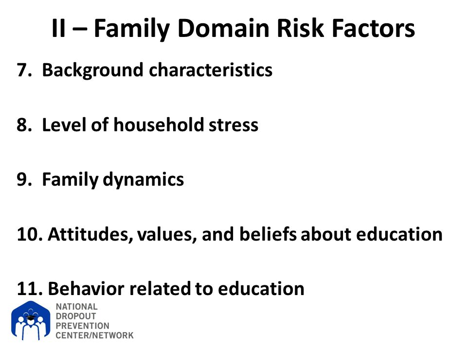 II – Family Domain Risk Factors 7. Background characteristics 8. Level of household stress 9. Family dynamics 10. Attitudes, values, and beliefs about