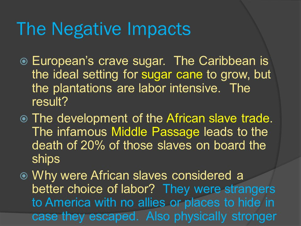 The Negative Impacts  European's crave sugar.