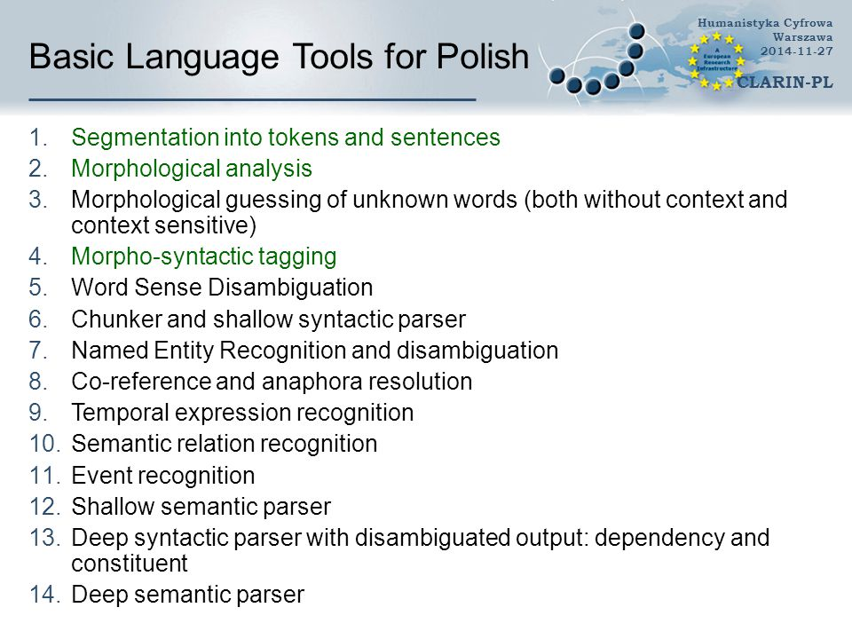 Basic Language Tools for Polish 1.Segmentation into tokens and sentences 2.Morphological analysis 3.Morphological guessing of unknown words (both without context and context sensitive) 4.Morpho-syntactic tagging 5.Word Sense Disambiguation 6.Chunker and shallow syntactic parser 7.Named Entity Recognition and disambiguation 8.Co-reference and anaphora resolution 9.Temporal expression recognition 10.Semantic relation recognition 11.Event recognition 12.Shallow semantic parser 13.Deep syntactic parser with disambiguated output: dependency and constituent 14.Deep semantic parser Humanistyka Cyfrowa Warszawa 2014-11-27 CLARIN-PL