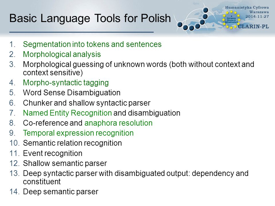 Basic Language Tools for Polish 1.Segmentation into tokens and sentences 2.Morphological analysis 3.Morphological guessing of unknown words (both with