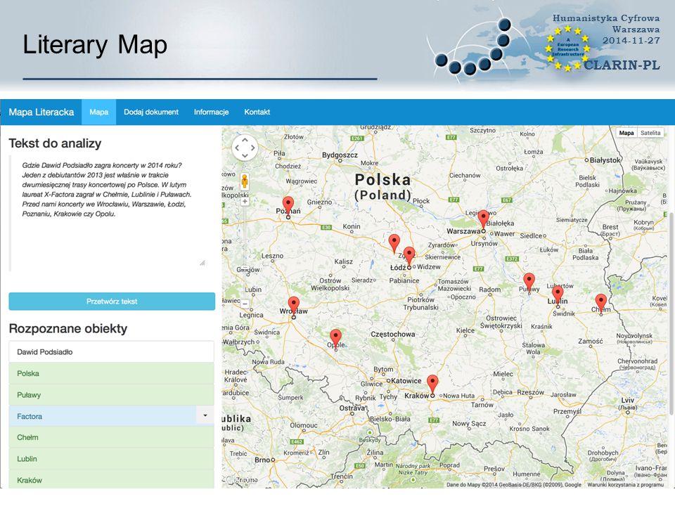Literary Map Humanistyka Cyfrowa Warszawa 2014-11-27 CLARIN-PL