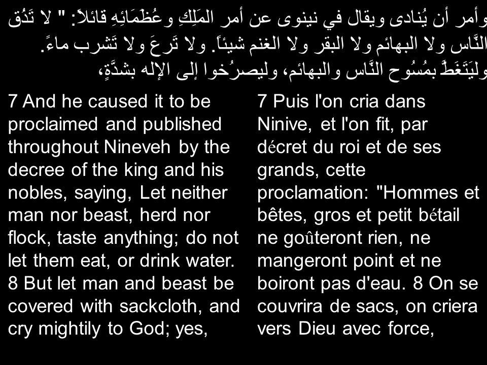 وأمر أن يُنادى ويقال في نينوى عن أمر المَلِكِ وعُظَمَائِهِ قائلاً: