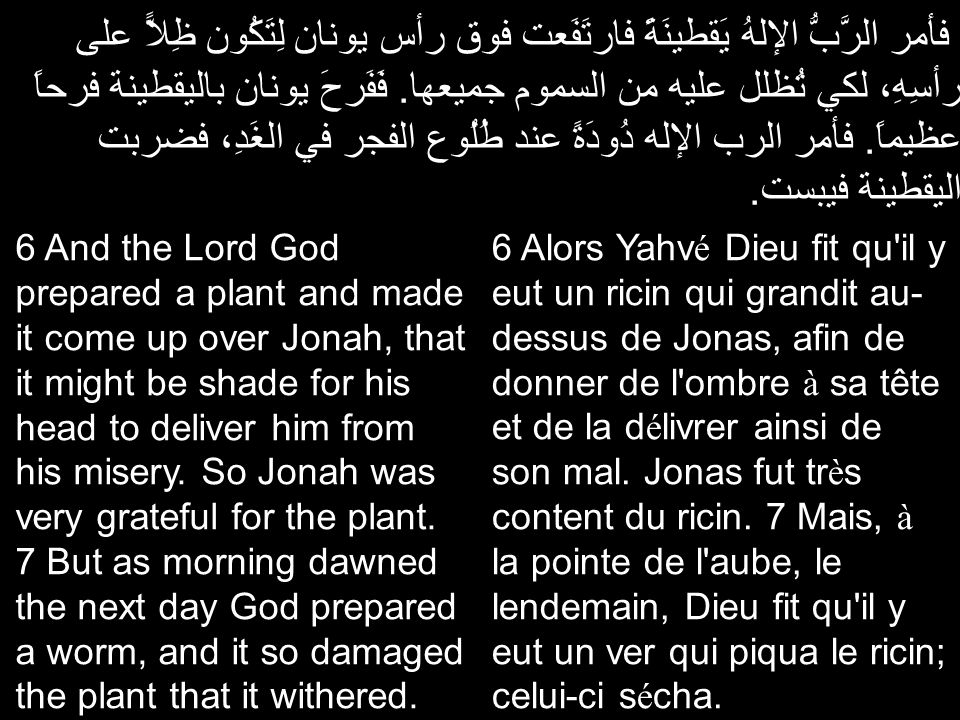 فأمر الرَّبُّ الإلهُ يَقطينَةً فارتَفَعت فوق رأس يونان لِتَكُون ظِلاًّ على رأسِهِ، لكي تُظلل عليه من السموم جميعها. فَفَرحَ يونان باليقطينة فرحاً عظيم