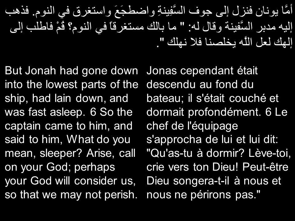 أمَّا يونان فنزل إلى جوف السَّفِينةِ واضطجَعَ واستغرق في النوم. فذهب إليه مدبر السَّفينة وقال له: