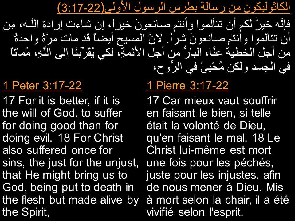 الكاثوليكون من رسالة بطرس الرسول الأولى( 3:17-22 ) فإنَّه خيرٌ لكم أن تتألموا وأنتم صانعونَ خيراً، إن شاءت إرادة اللَّـه، مِن أن تتألموا وأنتم صانعونَ شراً.
