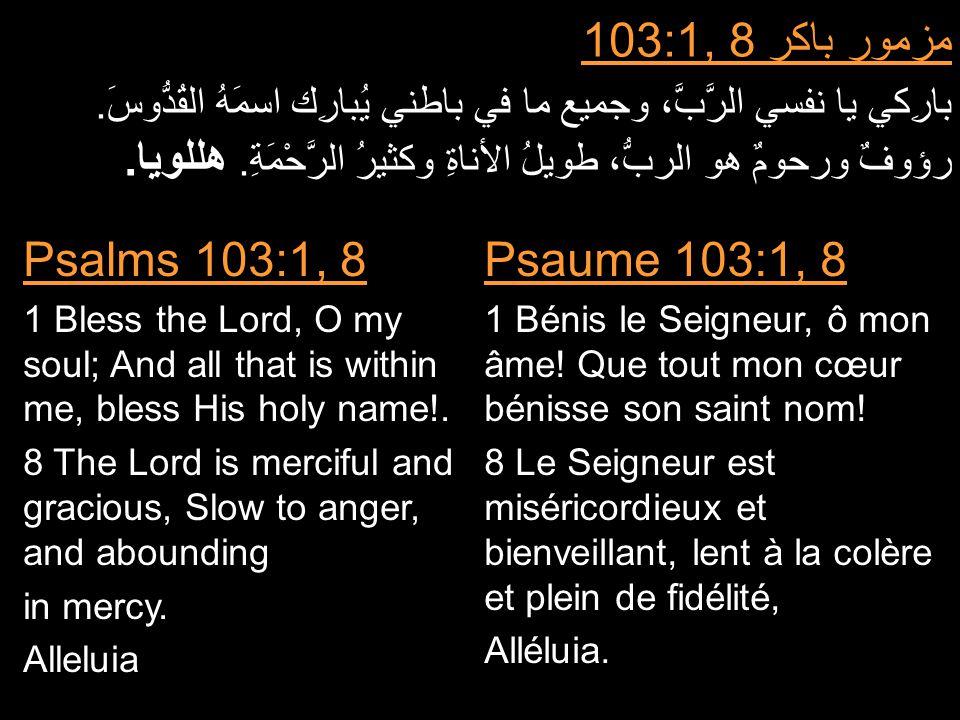 مزمور باكر 103:1, 8 بارِكي يا نفسي الرَّبَّ، وجميع ما في باطني يُبارِك اسمَهُ القُدُّوسَ.