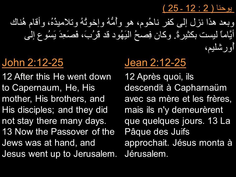 يوحنا ( 2 : 12 ـ 25 ) وبعد هذا نزل إلى كفر ناحُوم، هو وأُمُّهُ وإخوتُهُ وتلاميذُهُ، وأقام هُناك أيَّاماً ليست بكثيرةً. وكان فِصحُ اليَهُود قد قَرُبَ،