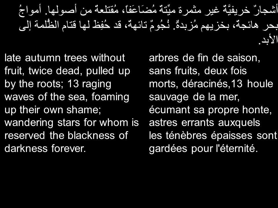 أشجارٌ خريفيَّةٌ غير مثمرة ميِّتةٌ مُضَاعَفاً، مُقتلعةٌ من أصولها. أمواجُ بحر هائجةٌ، بخزيهم مُزبدةٌ. نُجُومٌ تائهةٌ، قد حُفِظَ لها قتام الظُّلمة إلى