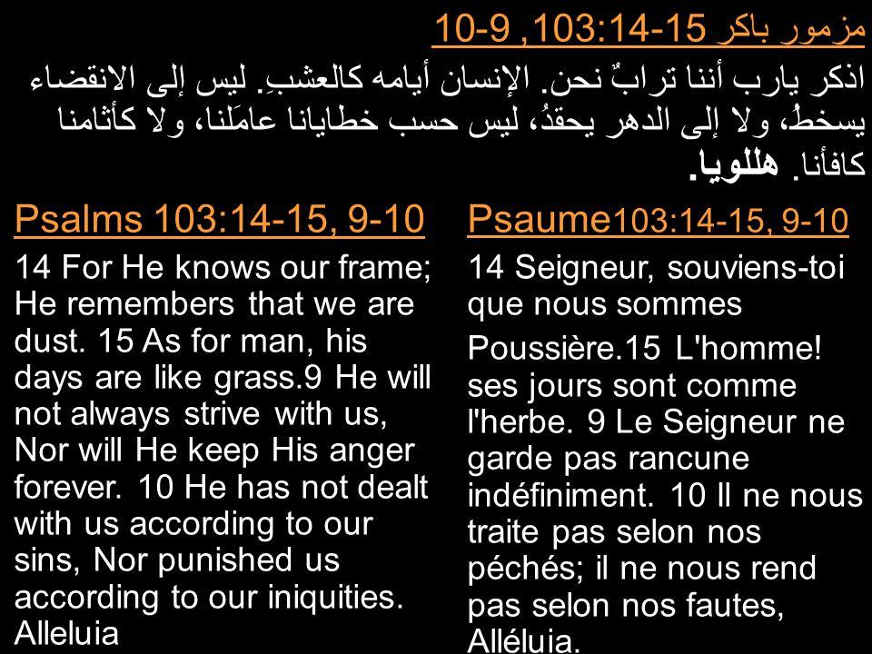 مزمور باكر 103:14-15, 9-10 اذكر يارب أننا ترابٌ نحن. الإنسان أيامه كالعشبِ. ليس إلى الانقضاء يسخطُ، ولا إلى الدهر يحقدُ، ليس حسب خطايانا عامَلنا، ولا