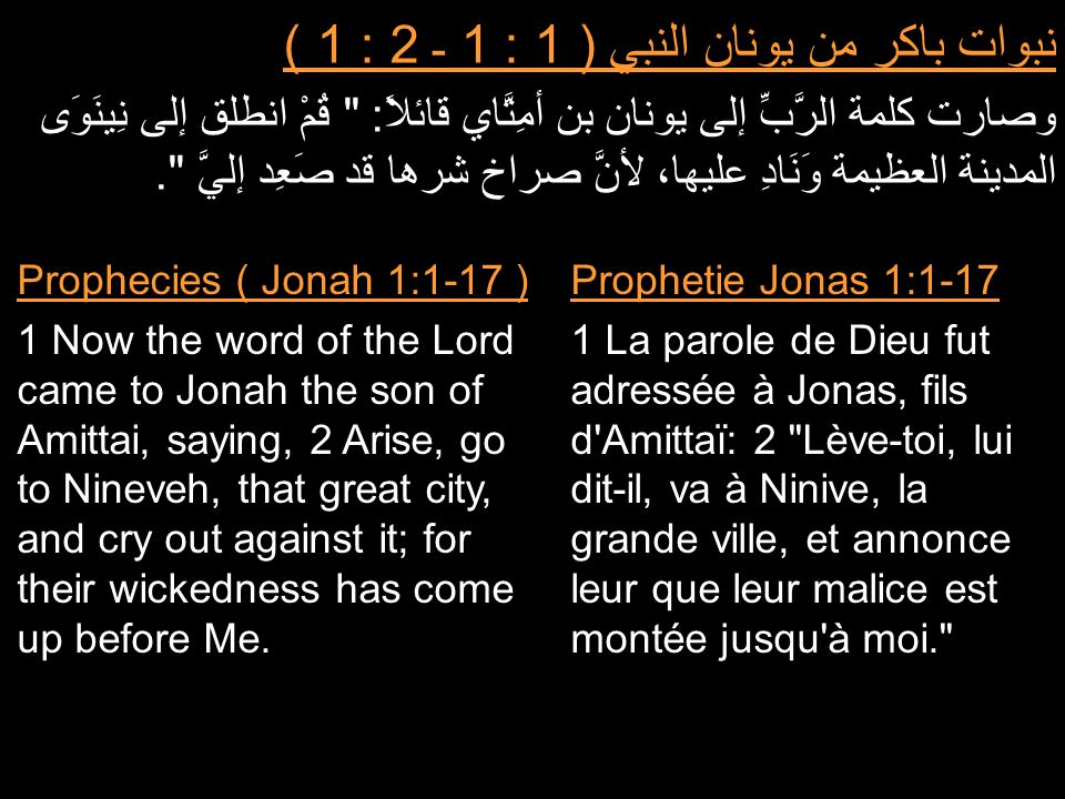 نبوات باكر من يونان النبي ( 1 : 1 ـ 2 : 1 ) وصارت كلمة الرَّبِّ إلى يونان بن أمِتَّاي قائلاً: قُمْ انطلق إلى نِينَوَى المدينة العظيمة وَنَادِ عليها، لأنَّ صراخ شرها قد صَعِد إليَّ .
