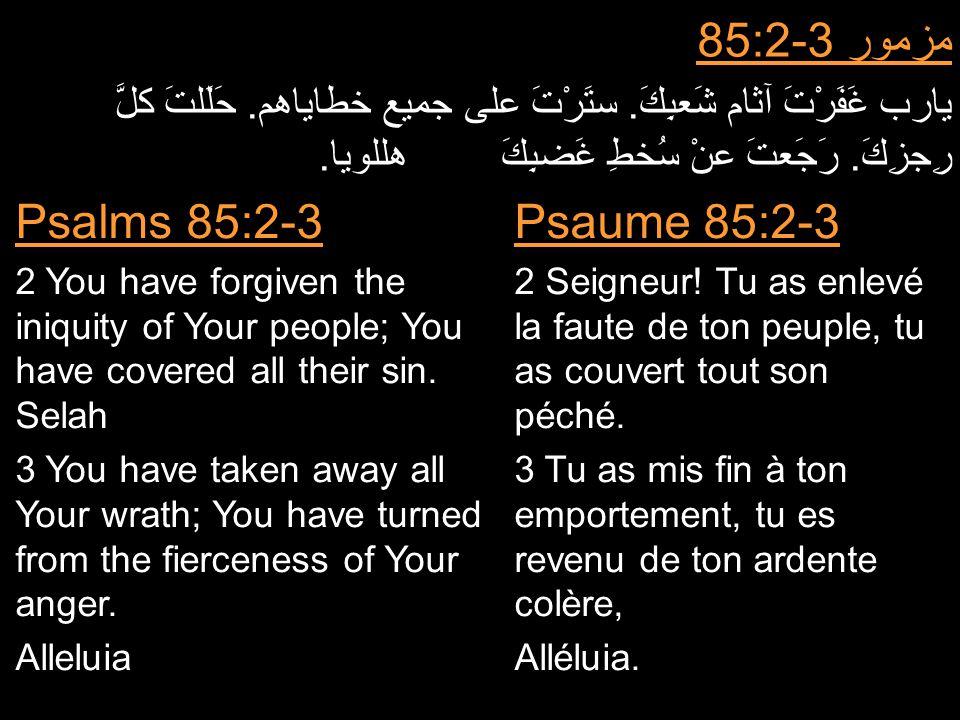 مزمور 85:2-3 يارب غَفَرْتَ آثام شَعبِكَ. ستَرْتَ على جميع خطاياهم. حَلَلتَ كلَّ رِجزِكَ. رَجَعتَ عنْ سُخطِ غَضبِكَ هللويا. Psaume 85:2-3 2 Seigneur! T