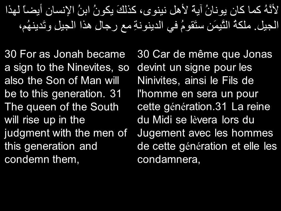 لأنَّهُ كما كان يونانُ آيةً لأهل نينوى، كذلكَ يكونُ ابنُ الإنسانِ أيضاً لهذا الجيل. ملكةُ التَّيمَن ستَقومُ في الدينونةِ مع رجالِ هذا الجيلِ وتَدينهُم