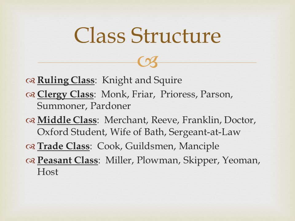  Ruling Class : Knight and Squire  Clergy Class : Monk, Friar, Prioress, Parson, Summoner, Pardoner  Middle Class : Merchant, Reeve, Franklin, Doctor, Oxford Student, Wife of Bath, Sergeant-at-Law  Trade Class : Cook, Guildsmen, Manciple  Peasant Class : Miller, Plowman, Skipper, Yeoman, Host Class Structure