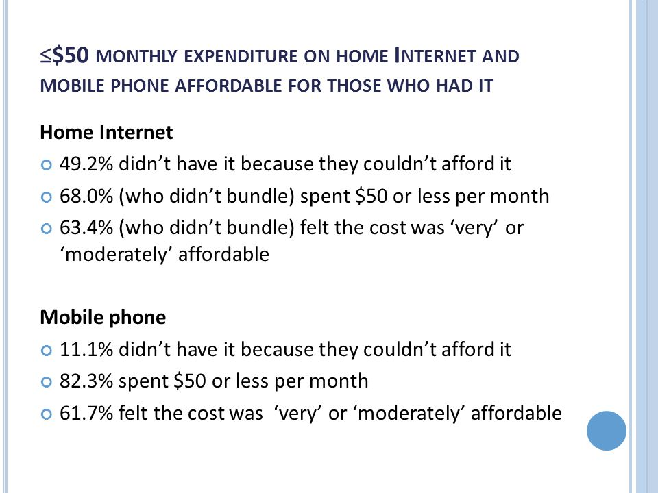 ≤$50 MONTHLY EXPENDITURE ON HOME I NTERNET AND MOBILE PHONE AFFORDABLE FOR THOSE WHO HAD IT Home Internet 49.2% didn't have it because they couldn't a