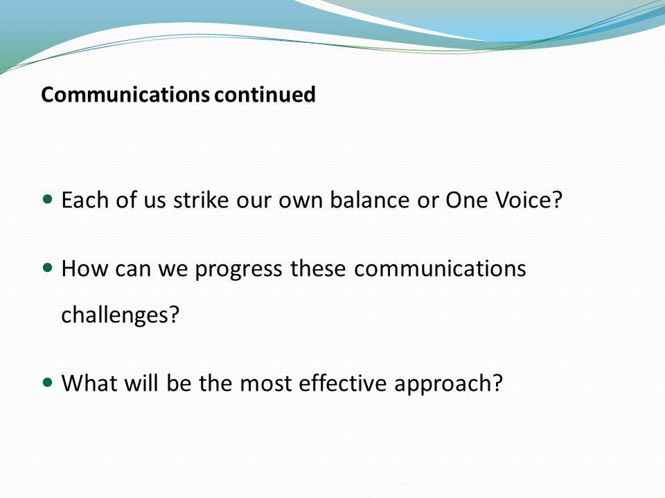 Communications continued Each of us strike our own balance or One Voice.