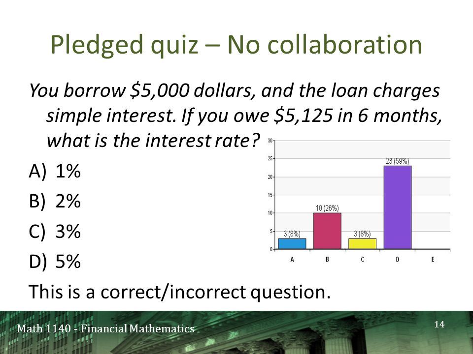 Math 1140 - Financial Mathematics Pledged quiz – No collaboration You borrow $5,000 dollars, and the loan charges simple interest.