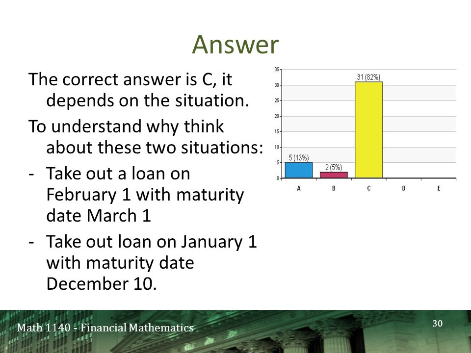 Math 1140 - Financial Mathematics Answer The correct answer is C, it depends on the situation.