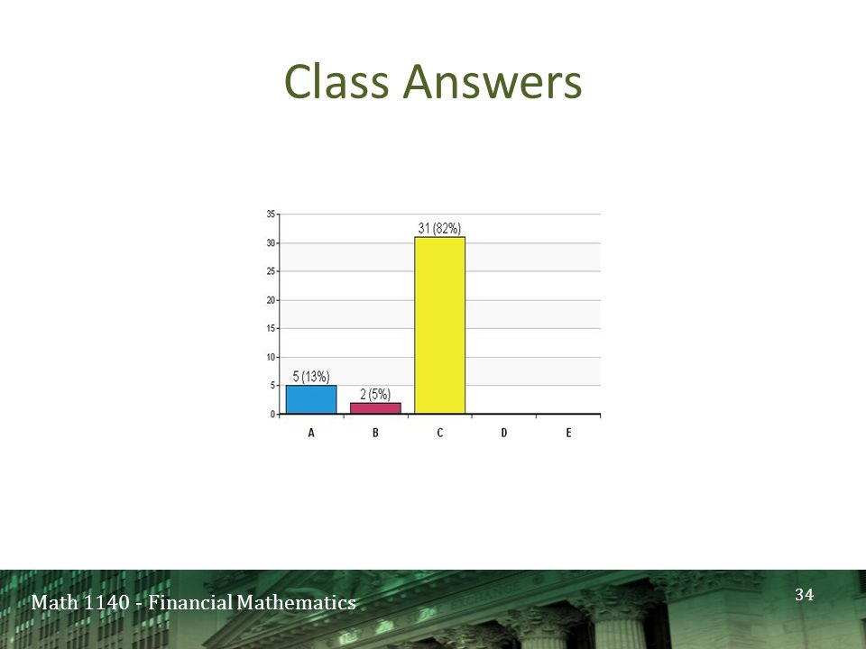 Math 1140 - Financial Mathematics Class Answers 34