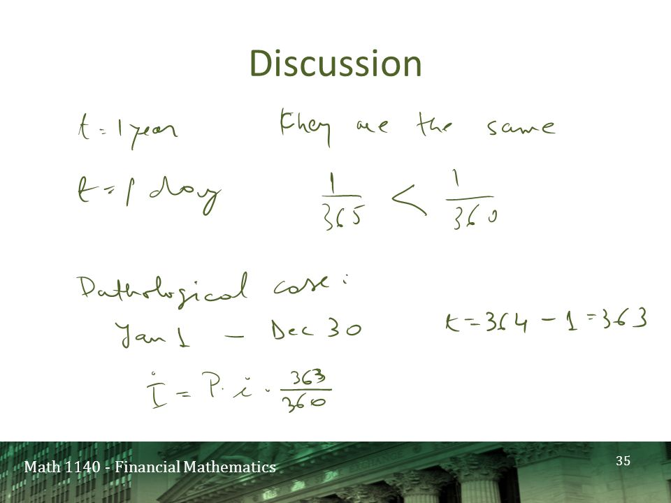 Math 1140 - Financial Mathematics Discussion 35
