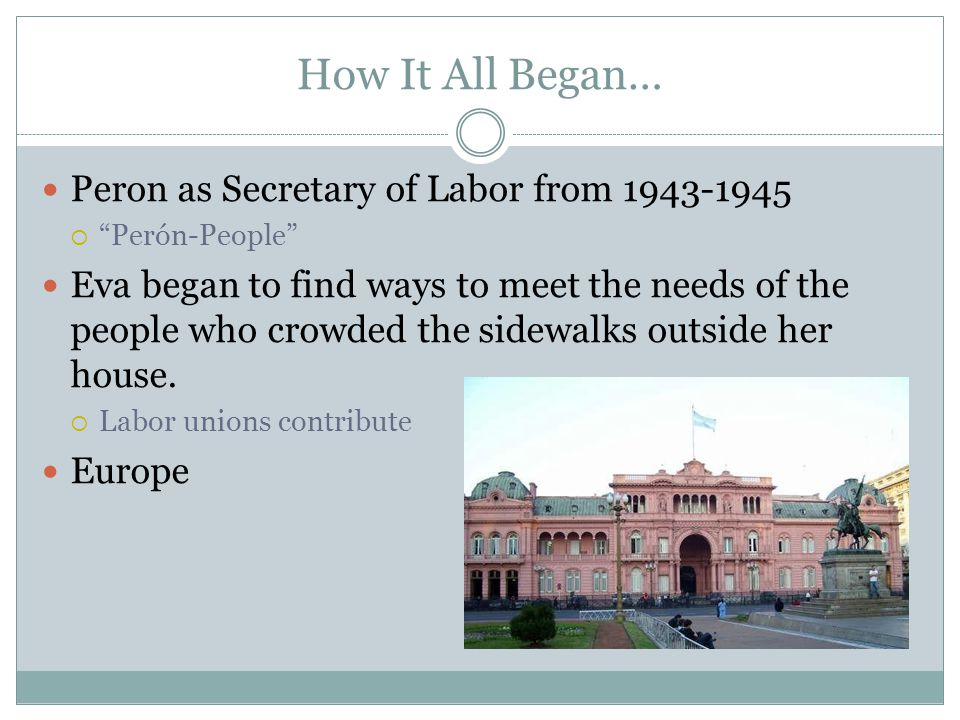 """Peron as Secretary of Labor from 1943-1945  """"Perón-People"""" Eva began to find ways to meet the needs of the people who crowded the sidewalks outside h"""