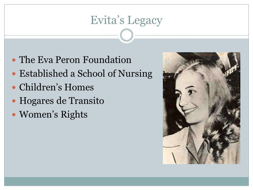 Evita's Legacy The Eva Peron Foundation Established a School of Nursing Children's Homes Hogares de Transito Women's Rights