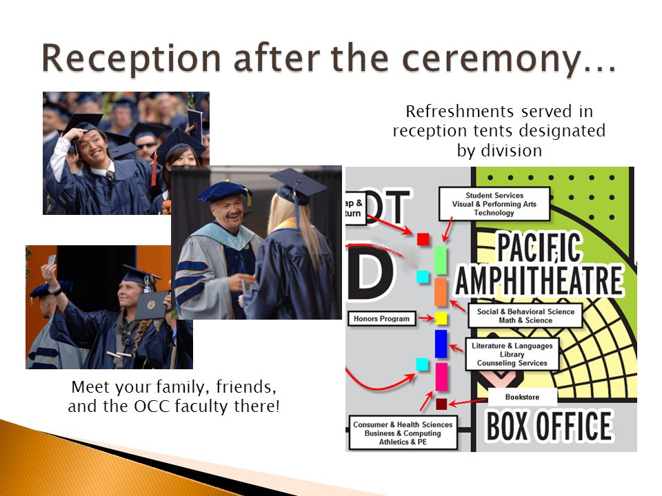 Refreshments served in reception tents designated by division Meet your family, friends, and the OCC faculty there!