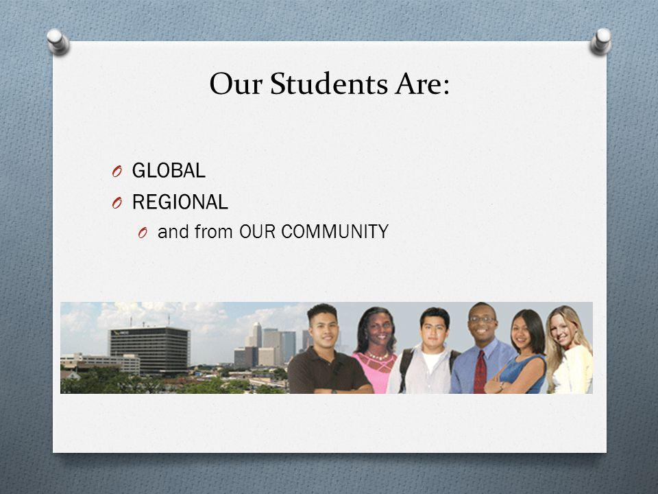 Our Students Are: O GLOBAL O REGIONAL O and from OUR COMMUNITY