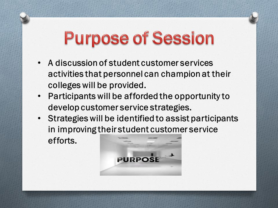 A discussion of student customer services activities that personnel can champion at their colleges will be provided. Participants will be afforded the