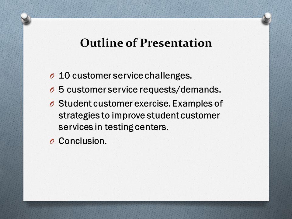 Five Customer Service Request/Demands O 5.