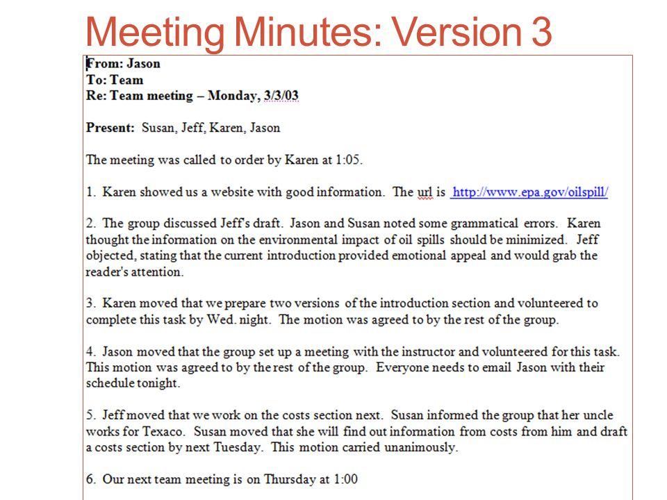 Meeting Minutes: Version 3